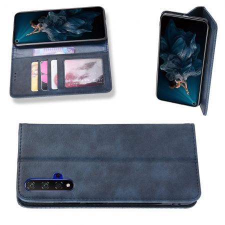 PU Кожаный Чехол Автоматическое Закрывание Подставка и Кошелёк для Huawei Honor 20 Синий