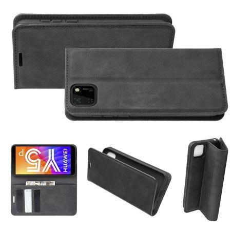 PU Кожаный Чехол Автоматическое Закрывание Подставка и Кошелёк для Huawei Y5p / Honor 9S Черный