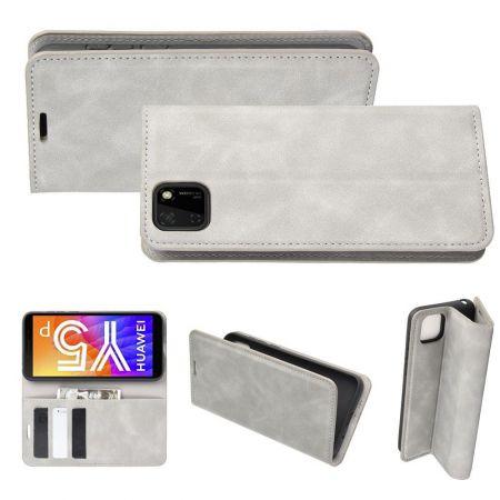 PU Кожаный Чехол Автоматическое Закрывание Подставка и Кошелёк для Huawei Y5p / Honor 9S Серый