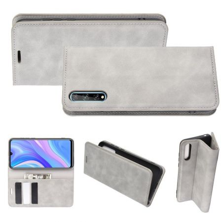 PU Кожаный Чехол Автоматическое Закрывание Подставка и Кошелёк для Huawei Y8p Серый