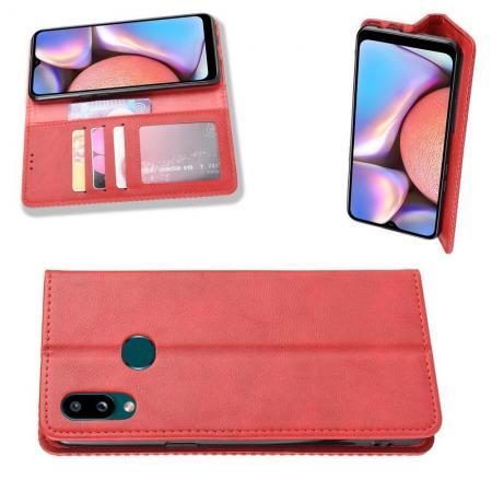 PU Кожаный Чехол Автоматическое Закрывание Подставка и Кошелёк для Samsung Galaxy A10s Красный