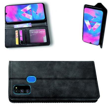 PU Кожаный Чехол Автоматическое Закрывание Подставка и Кошелёк для Samsung Galaxy M30s Черный