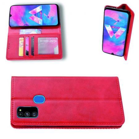 PU Кожаный Чехол Автоматическое Закрывание Подставка и Кошелёк для Samsung Galaxy M30s Красный
