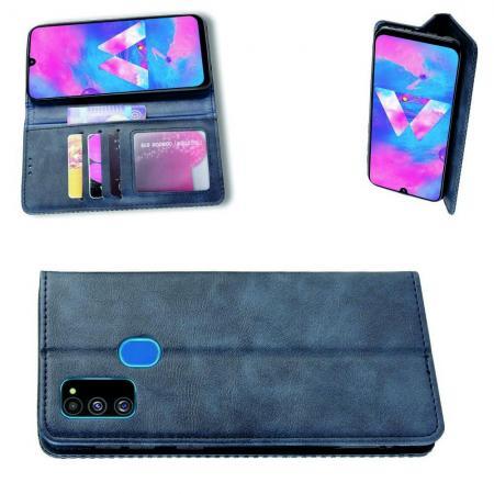 PU Кожаный Чехол Автоматическое Закрывание Подставка и Кошелёк для Samsung Galaxy M30s Синий