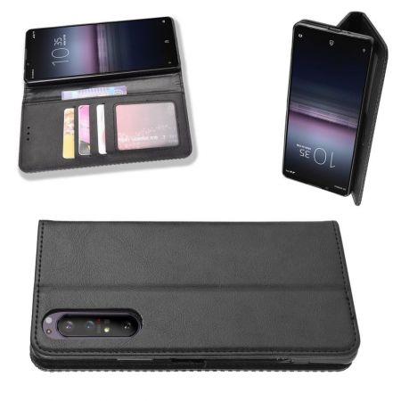 PU Кожаный Чехол Автоматическое Закрывание Подставка и Кошелёк для Sony Xperia 1 II Черный