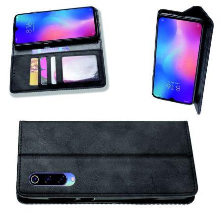 PU Кожаный Чехол Автоматическое Закрывание Подставка и Кошелёк для Xiaomi Mi 9 Lite Черный