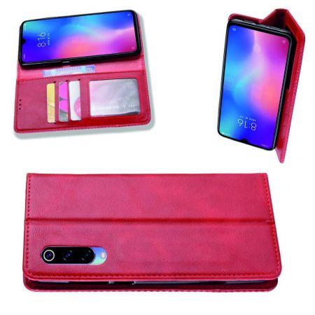 PU Кожаный Чехол Автоматическое Закрывание Подставка и Кошелёк для Xiaomi Mi 9 Lite Красный