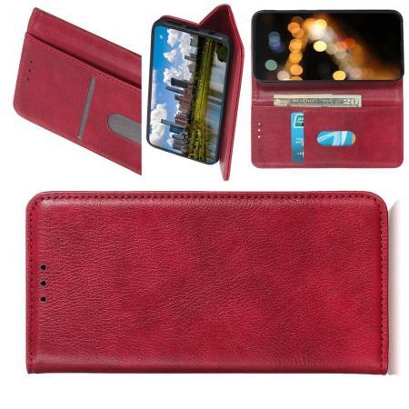 PU Кожаный Чехол Автоматическое Закрывание Подставка и Кошелёк для Xiaomi Mi A3 Красный