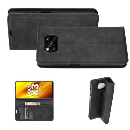 PU Кожаный Чехол Автоматическое Закрывание Подставка и Кошелёк для Xiaomi Poco X3 NFC / X3 NFC Черный