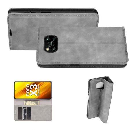 PU Кожаный Чехол Автоматическое Закрывание Подставка и Кошелёк для Xiaomi Poco X3 NFC / X3 NFC Серый