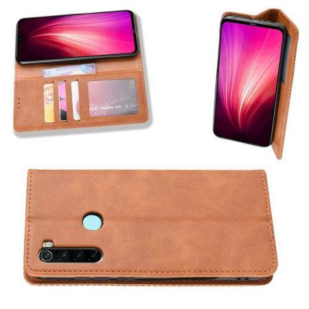 PU Кожаный Чехол Автоматическое Закрывание Подставка и Кошелёк для Xiaomi Redmi Note 8T Коричневый