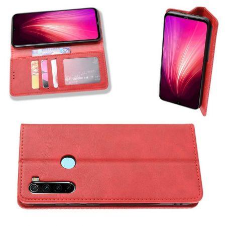 PU Кожаный Чехол Автоматическое Закрывание Подставка и Кошелёк для Xiaomi Redmi Note 8T Красный