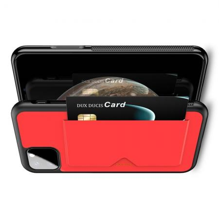 PU Кожаный Чехол для Телефона Dux Ducis Skin Lite для iPhone 11 Противоскользящий Ударопрочный Красный
