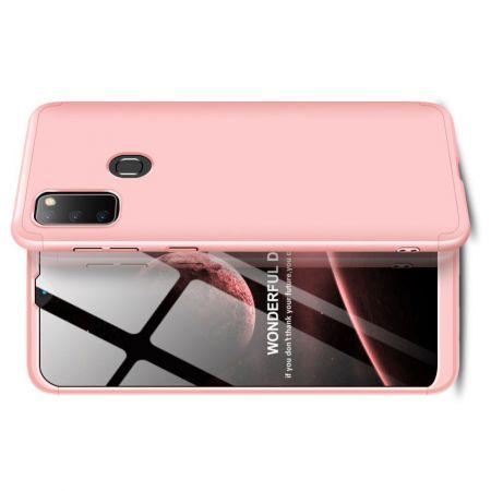 Съемный 360 GKK Матовый Жесткий Пластиковый Чехол для Samsung Galaxy M30s Розовый