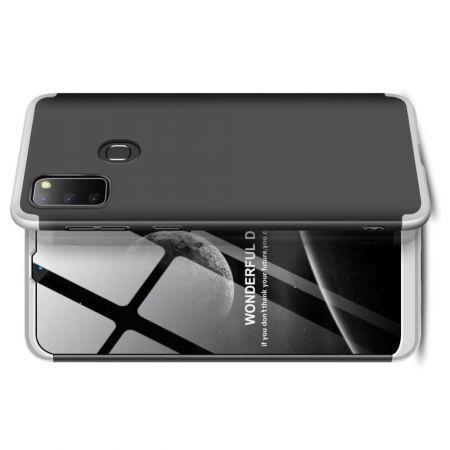 Съемный 360 GKK Матовый Жесткий Пластиковый Чехол для Samsung Galaxy M30s Серебряный / Черный