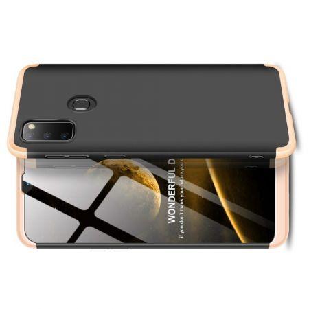 Съемный 360 GKK Матовый Жесткий Пластиковый Чехол для Samsung Galaxy M30s Золотой / Черный