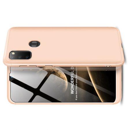 Съемный 360 GKK Матовый Жесткий Пластиковый Чехол для Samsung Galaxy M30s Золотой