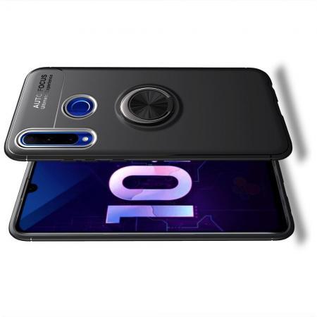 Силиконовый Чехол для Магнитного Держателя с Кольцом для Пальца Подставкой для Huawei Honor 10i Черный