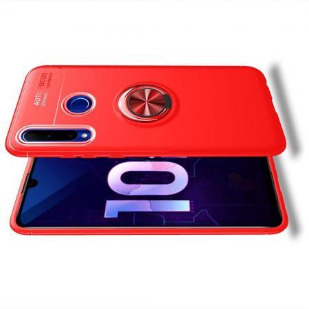 Силиконовый Чехол для Магнитного Держателя с Кольцом для Пальца Подставкой для Huawei Honor 10i Красный