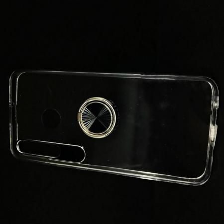 Силиконовый Чехол для Магнитного Держателя с Кольцом для Пальца Подставкой для Huawei Honor 10i Прозрачный
