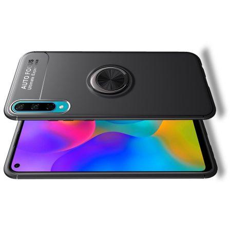 Силиконовый Чехол для Магнитного Держателя с Кольцом для Пальца Подставкой для Huawei Honor 10i / Honor 20 Lite Черный