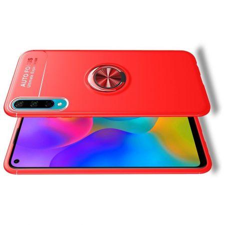 Силиконовый Чехол для Магнитного Держателя с Кольцом для Пальца Подставкой для Huawei Honor 10i / Honor 20 Lite Красный