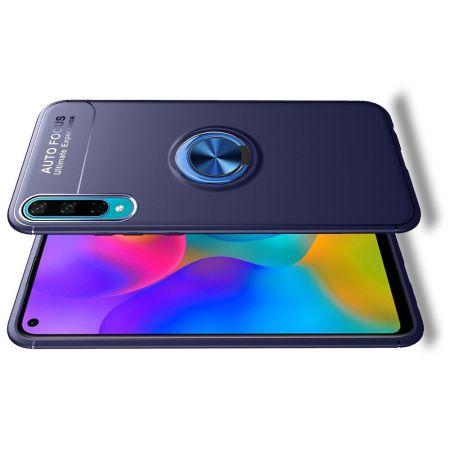 Силиконовый Чехол для Магнитного Держателя с Кольцом для Пальца Подставкой для Huawei Honor 10i / Honor 20 Lite Синий