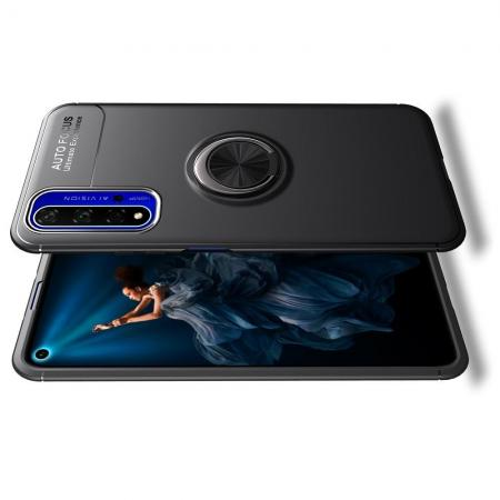 Силиконовый Чехол для Магнитного Держателя с Кольцом для Пальца Подставкой для Huawei Honor 20 Черный
