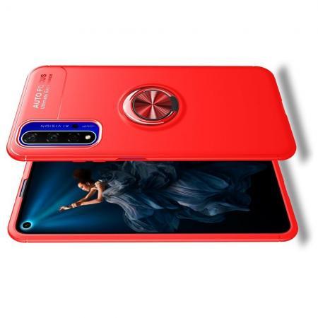 Силиконовый Чехол для Магнитного Держателя с Кольцом для Пальца Подставкой для Huawei Honor 20 Красный