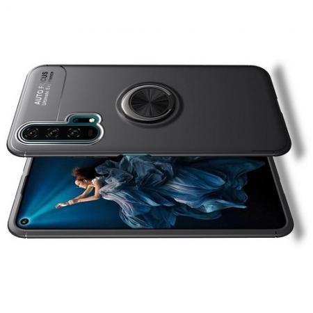 Силиконовый Чехол для Магнитного Держателя с Кольцом для Пальца Подставкой для Huawei Honor 20 Pro Черный