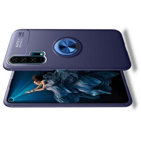 Силиконовый Чехол для Магнитного Держателя с Кольцом для Пальца Подставкой для Huawei Honor 20 Pro Синий