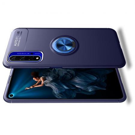Силиконовый Чехол для Магнитного Держателя с Кольцом для Пальца Подставкой для Huawei Honor 20 Синий