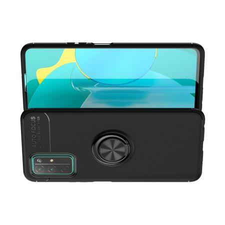 Силиконовый Чехол для Магнитного Держателя с Кольцом для Пальца Подставкой для Huawei Honor 30 Черный