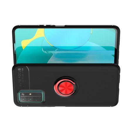 Силиконовый Чехол для Магнитного Держателя с Кольцом для Пальца Подставкой для Huawei Honor 30 Красный / Черный