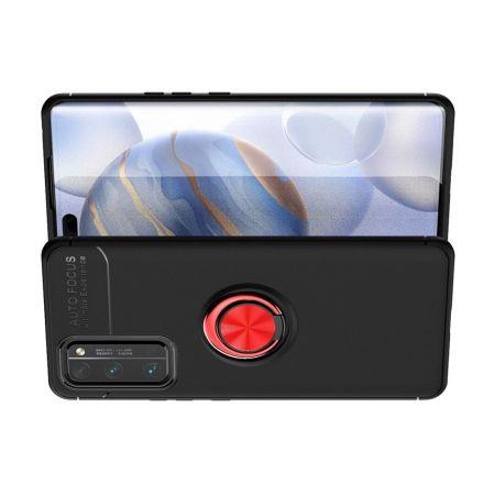 Силиконовый Чехол для Магнитного Держателя с Кольцом для Пальца Подставкой для Huawei Honor 30 Pro Красный / Черный
