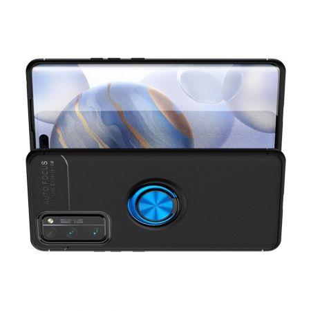 Силиконовый Чехол для Магнитного Держателя с Кольцом для Пальца Подставкой для Huawei Honor 30 Pro Синий / Черный