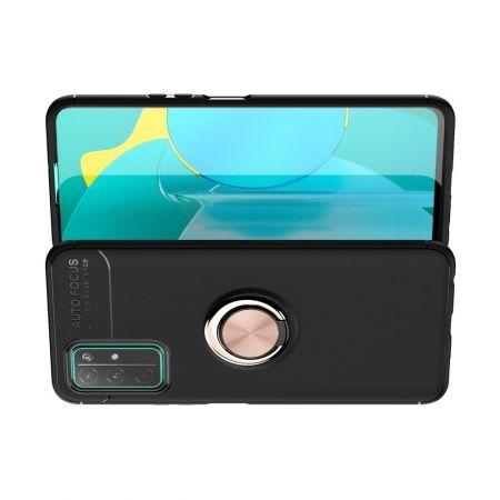 Силиконовый Чехол для Магнитного Держателя с Кольцом для Пальца Подставкой для Huawei Honor 30 Розовое Золото / Черный