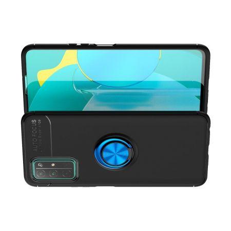 Силиконовый Чехол для Магнитного Держателя с Кольцом для Пальца Подставкой для Huawei Honor 30 Синий / Черный