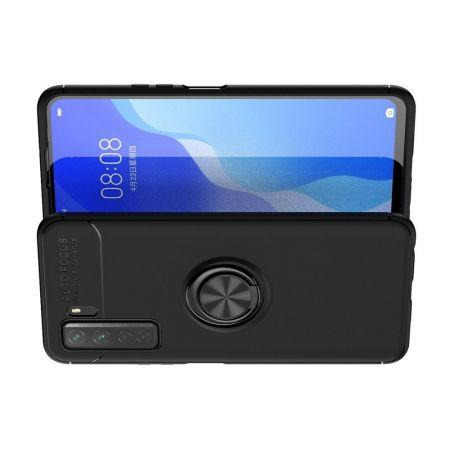 Силиконовый Чехол для Магнитного Держателя с Кольцом для Пальца Подставкой для Huawei Honor 30S Черный