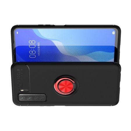 Силиконовый Чехол для Магнитного Держателя с Кольцом для Пальца Подставкой для Huawei Honor 30S Красный / Черный