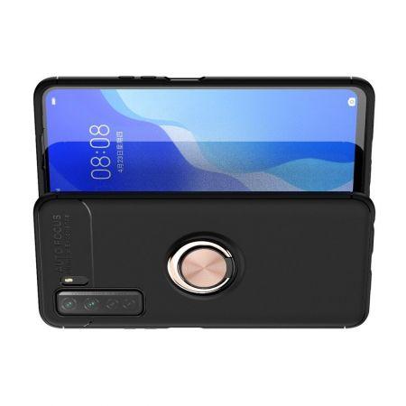 Силиконовый Чехол для Магнитного Держателя с Кольцом для Пальца Подставкой для Huawei Honor 30S Розовое Золото / Черный