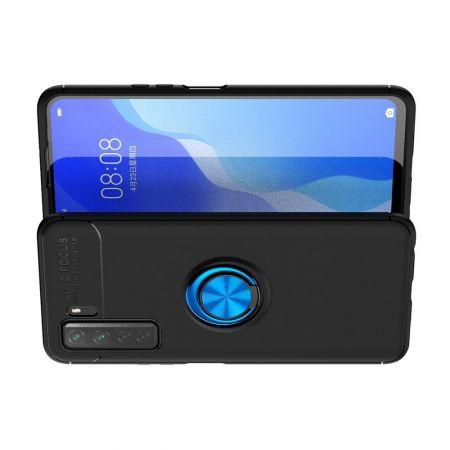 Силиконовый Чехол для Магнитного Держателя с Кольцом для Пальца Подставкой для Huawei Honor 30S Синий / Черный