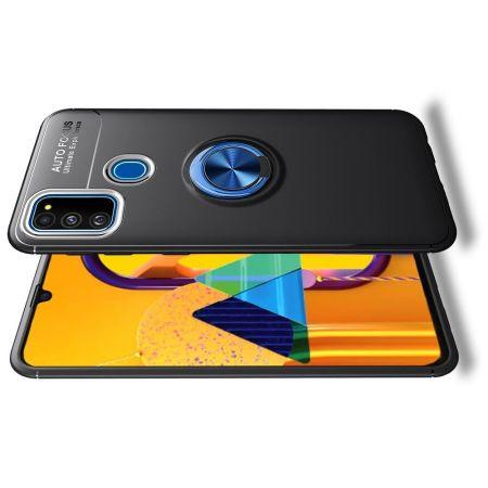 Силиконовый Чехол для Магнитного Держателя с Кольцом для Пальца Подставкой для Huawei Honor 9A Синий / Черный