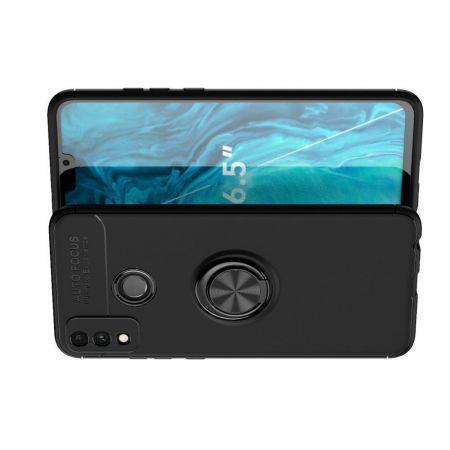 Силиконовый Чехол для Магнитного Держателя с Кольцом для Пальца Подставкой для Huawei Honor 9X Lite Черный