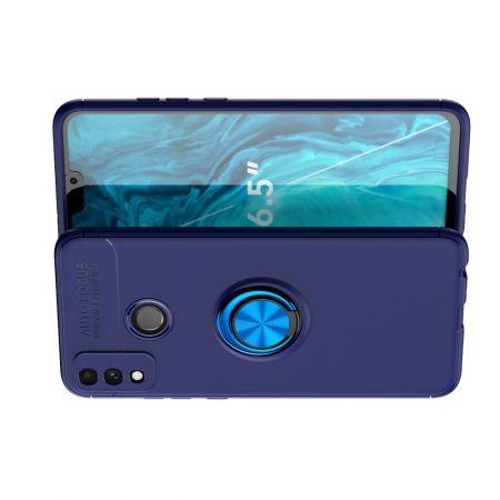 Силиконовый Чехол для Магнитного Держателя с Кольцом для Пальца Подставкой для Huawei Honor 9X Lite Синий