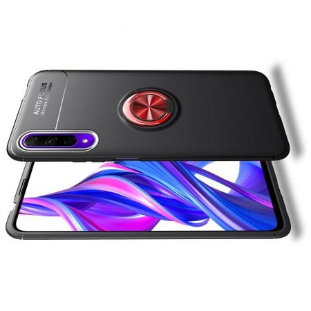 Силиконовый Чехол для Магнитного Держателя с Кольцом для Пальца Подставкой для Huawei Honor 9X Pro / Honor 9X Красный / Черный