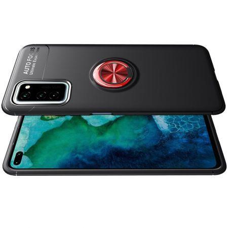 Силиконовый Чехол для Магнитного Держателя с Кольцом для Пальца Подставкой для Huawei Honor View 30 Красный / Черный