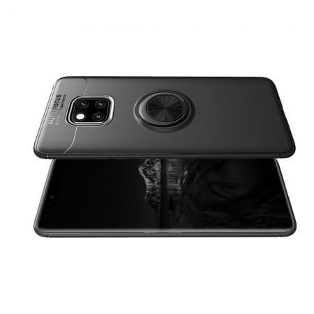 Силиконовый Чехол для Магнитного Держателя с Кольцом для Пальца Подставкой для Huawei Mate 20 Pro Черный