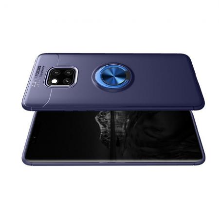 Силиконовый Чехол для Магнитного Держателя с Кольцом для Пальца Подставкой для Huawei Mate 20 Pro Синий
