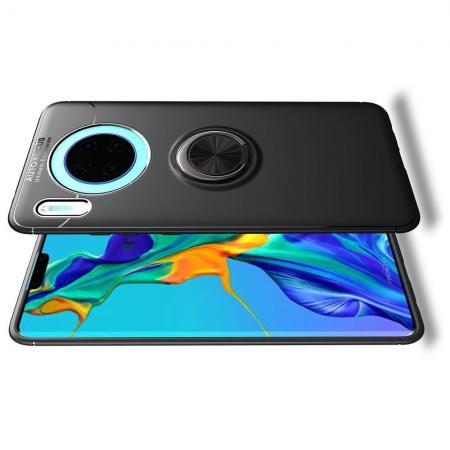 Силиконовый Чехол для Магнитного Держателя с Кольцом для Пальца Подставкой для Huawei Mate 30 Черный